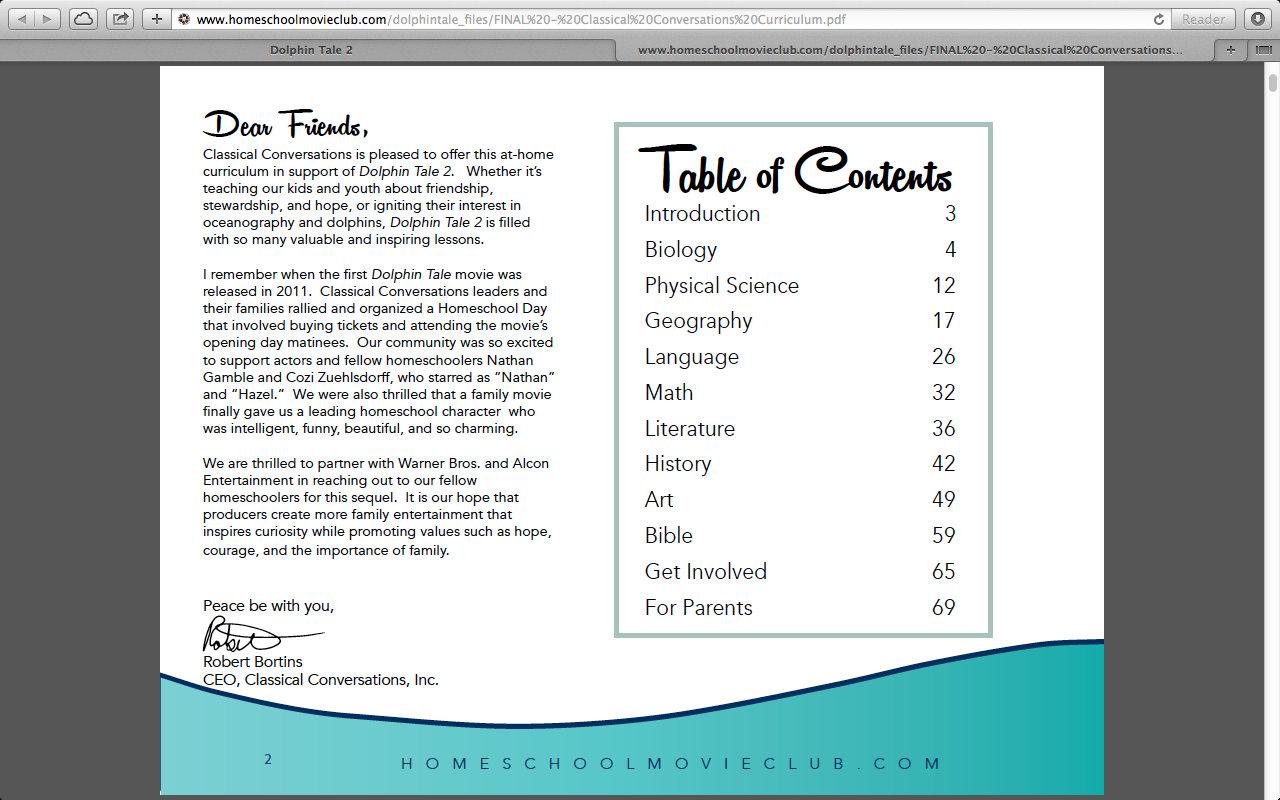 CC Table of Contents for Free Dolphin Tale 2 Curriculum