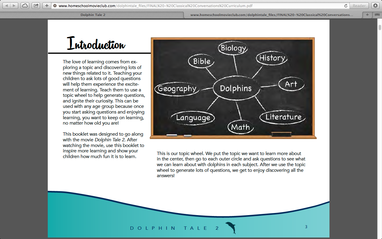 CC Diagram of Dolphin Tale 2 Free Curriculum