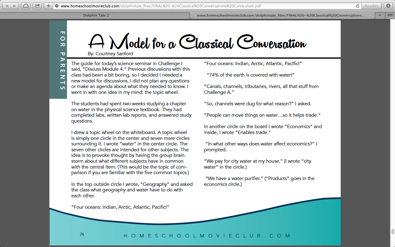 Dolphin Tales 2 Classical Conversations Parent Tips